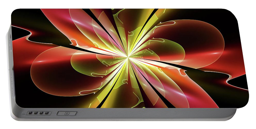 Fractal Portable Battery Charger featuring the digital art Bloom With Red by Deborah Benoit