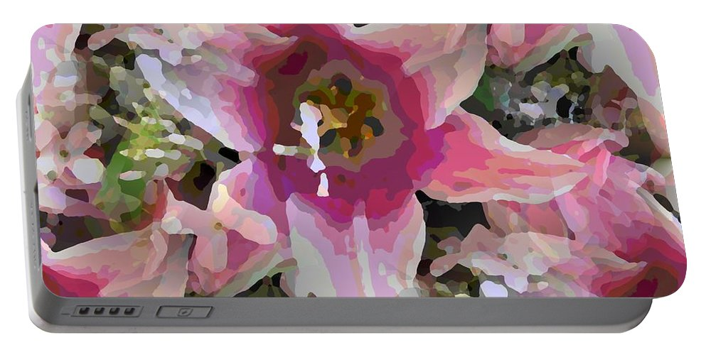 Portable Battery Charger featuring the digital art Blooming Beauty by Tim Allen