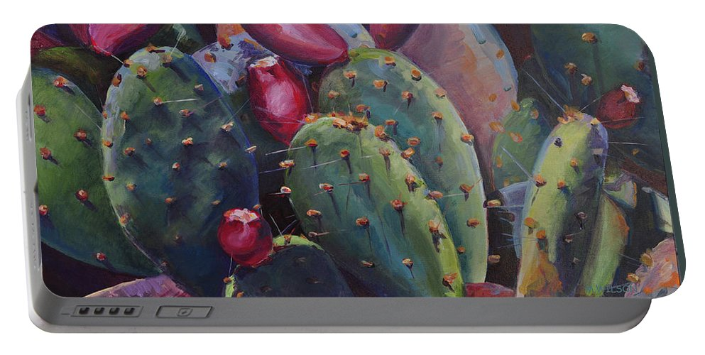 Cactus Portable Battery Charger featuring the painting Blooming Cacti by Marjory Wilson