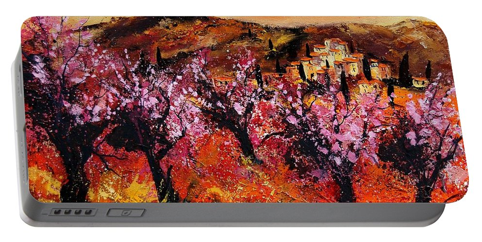 Provence Cherrytree Summer Spring Portable Battery Charger featuring the painting Blooming cherry trees by Pol Ledent