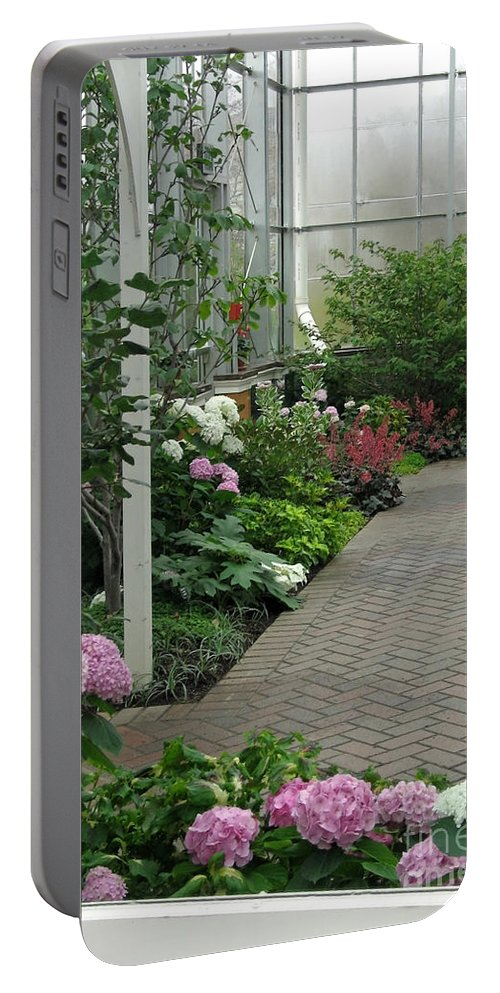 Conservatory Portable Battery Charger featuring the photograph Blooming Conservatory by Ann Horn