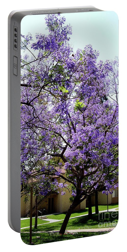 Blooming Portable Battery Charger featuring the photograph Blooming Tree With Purple Flowers by Mariola Bitner
