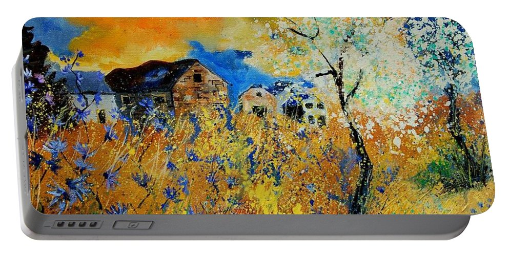 Poppies Portable Battery Charger featuring the painting Blooming Trees by Pol Ledent