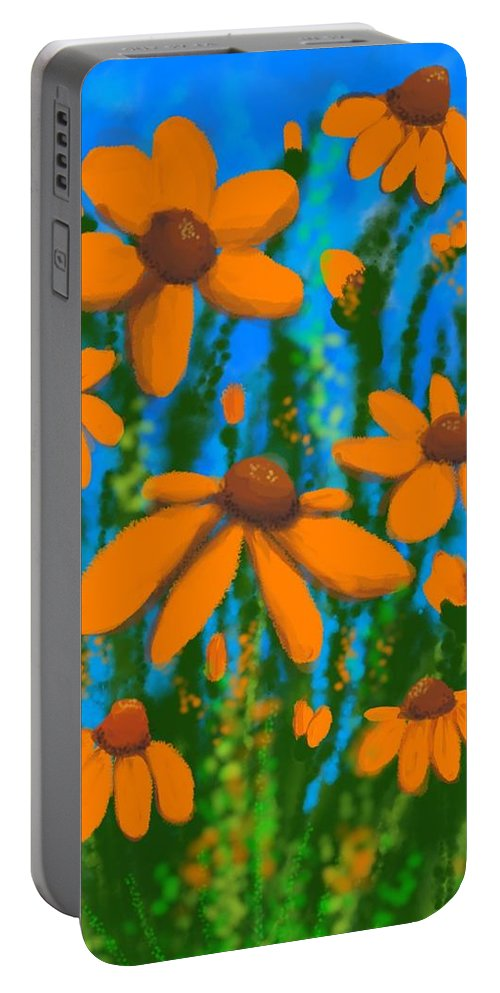 Flowers Portable Battery Charger featuring the digital art Blooms Of Orange by Kathleen Hromada