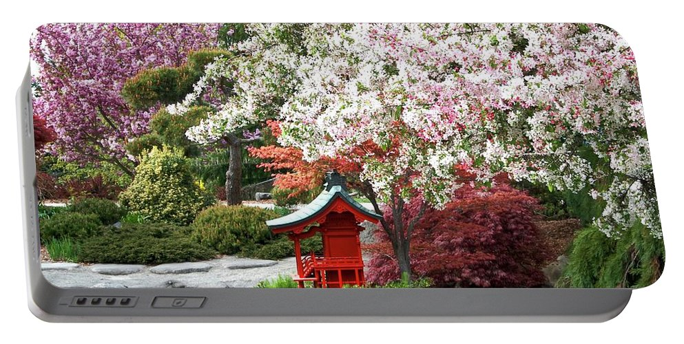 Colorful Portable Battery Charger featuring the photograph Blossoms Abound In The Japanese Garden by David Coleman