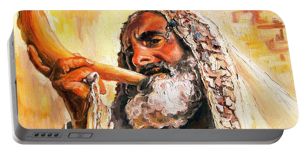 Rabbis Portable Battery Charger featuring the painting Blow The Trumpet In Zion by Carole Spandau
