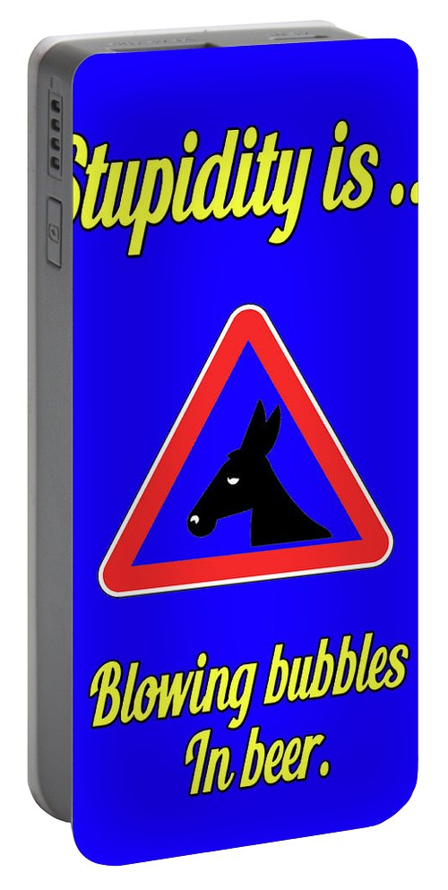 Funny Portable Battery Charger featuring the digital art Blowing Bigstock Donkey 171252860 by Mitchell Watrous