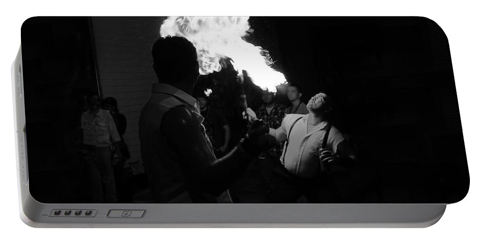 Fire Portable Battery Charger featuring the photograph Blowing Fire by David Lee Thompson
