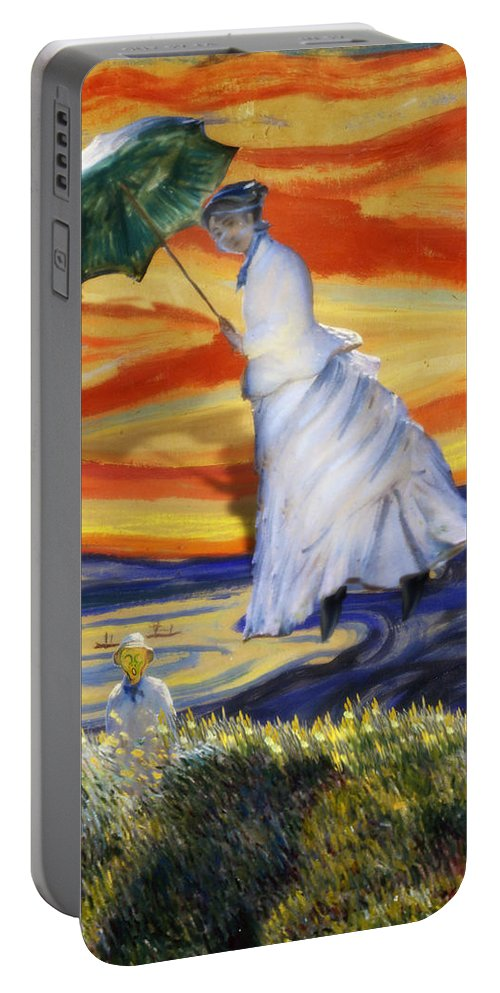 Monet Portable Battery Charger featuring the painting Blown Away From Red Skies by Gravityx9 Designs