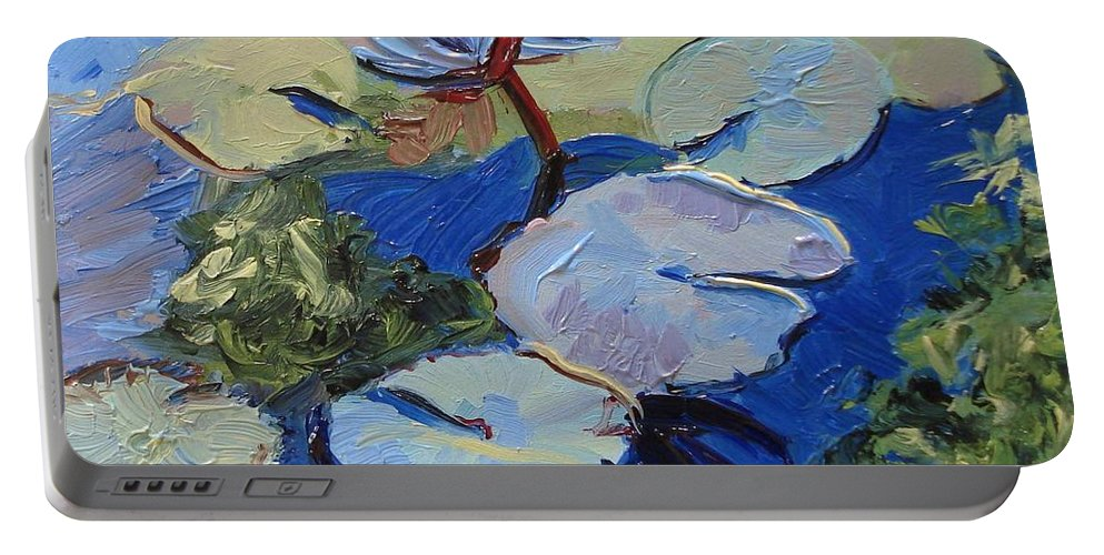 Lilies Portable Battery Charger featuring the painting Blu I by Barbara Andolsek