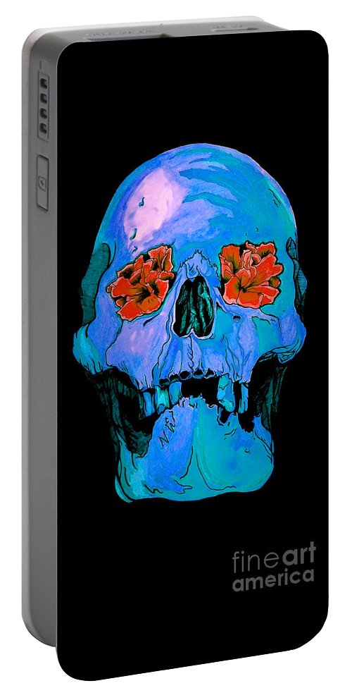 Portable Battery Charger featuring the drawing Blue by Abi