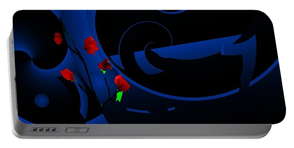 Abstract Portable Battery Charger featuring the digital art Blue Abstract by David Lane