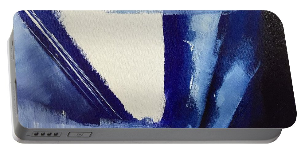 Portable Battery Charger featuring the painting Blue Abyss by Dori Murakami