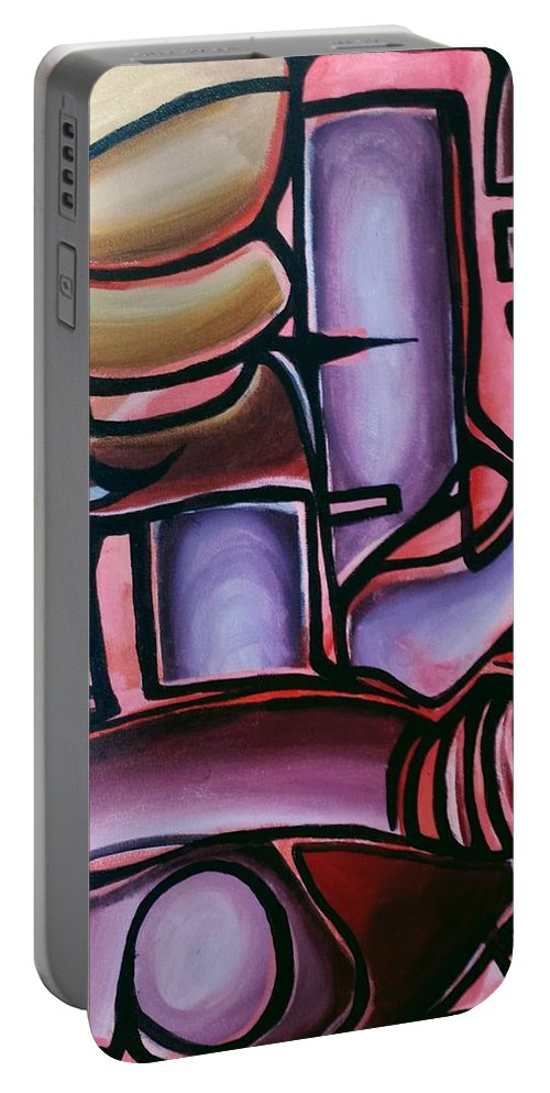 Colorful. Modern. Abstract. Beautiful. Ben Gonzalez Portable Battery Charger featuring the painting Blue And Blur by Ben Gonzalez