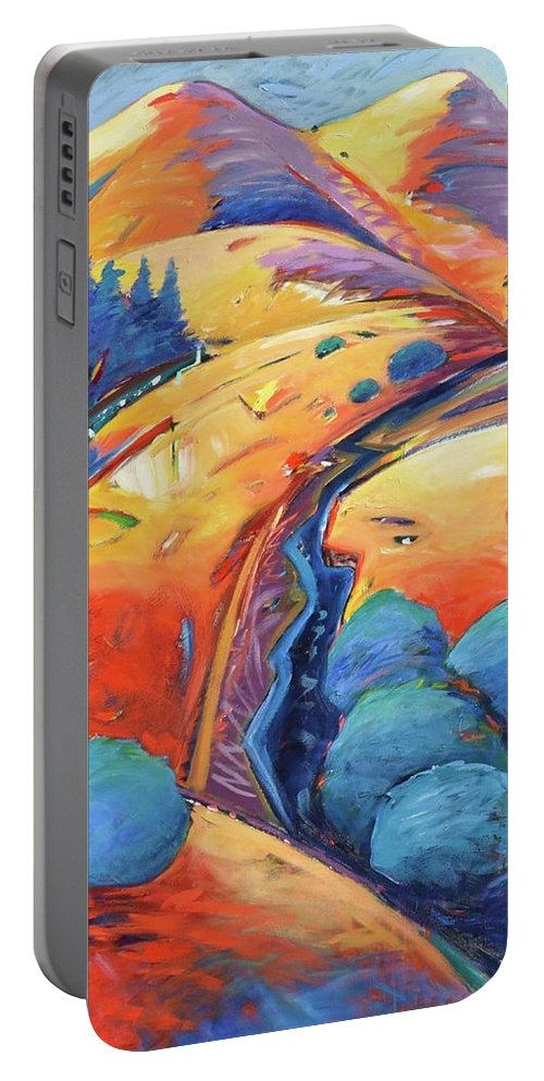 Hills Portable Battery Charger featuring the painting Blue And Gold by Gary Coleman