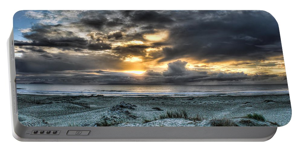 Sand Dunes Seascape Clouds Sunset Blue Dream Portable Battery Charger featuring the photograph Blue And Gold by Wendell Ward