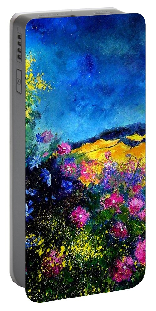 Landscape Portable Battery Charger featuring the painting Blue And Pink Flowers by Pol Ledent