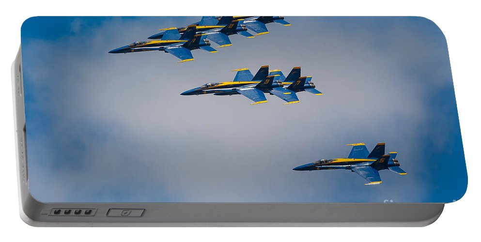 America Portable Battery Charger featuring the photograph Blue Angels by Inge Johnsson