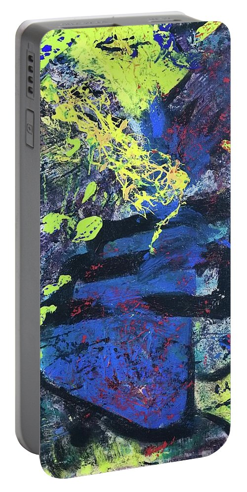 Portable Battery Charger featuring the painting Blue Beaker by Sheila Cahill