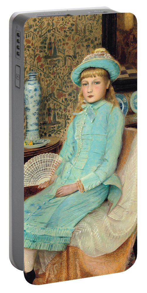 Blue Belle Portable Battery Charger featuring the painting Blue Belle by John Atkinson Grimshaw