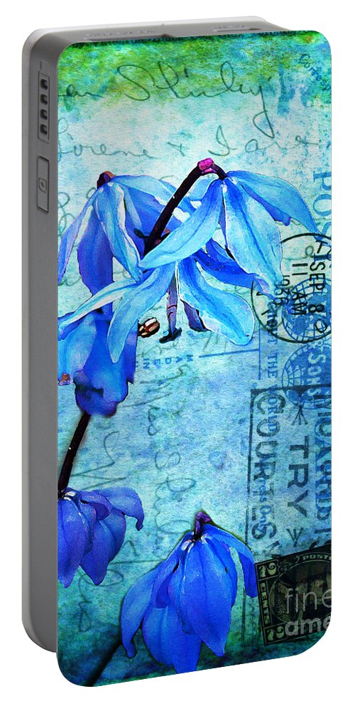 Flowers Portable Battery Charger featuring the photograph Blue Bells On Vintage 1936 Postcard by Nina Silver
