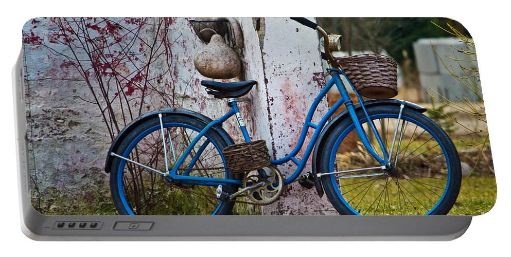 Bike Portable Battery Charger featuring the photograph Blue Bicycle by Ms Judi