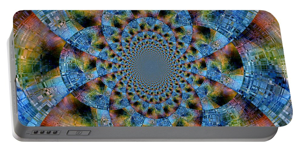 Abstract Portable Battery Charger featuring the digital art Blue Bling by Ruth Palmer