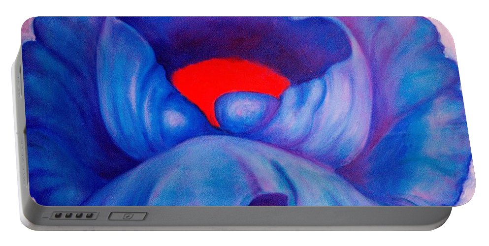 Blue Bloom Portable Battery Charger featuring the painting Blue Bloom by Jordana Sands