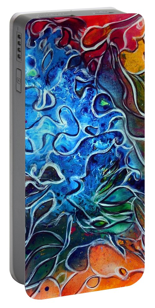 Abstract Portable Battery Charger featuring the painting Blue Blossom by Luiza Vizoli