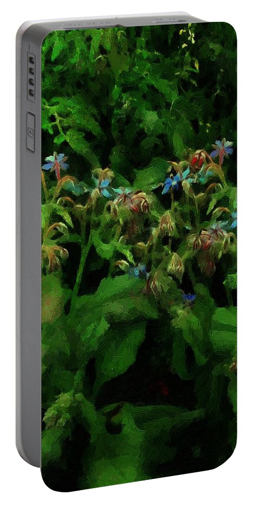 Blossoms Portable Battery Charger featuring the painting Blue Blossoms By Moonlight by RC DeWinter