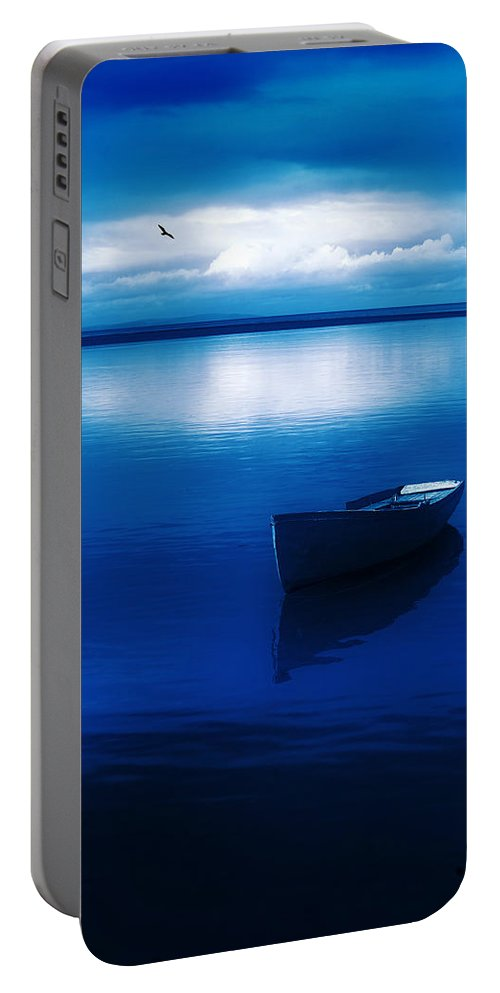 Boat Portable Battery Charger featuring the photograph Blue Blue Boat by Mal Bray