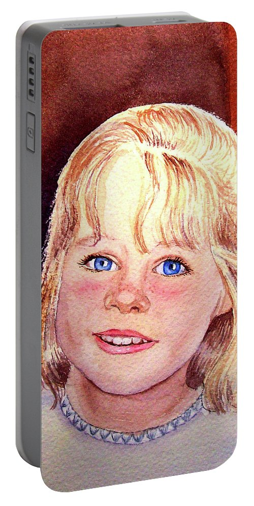 Girl Portrait Portable Battery Charger featuring the painting Blue Blue Eyes by Irina Sztukowski