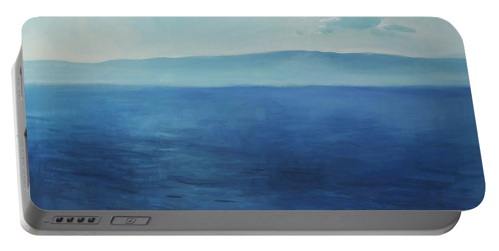 Lin Petershagen Portable Battery Charger featuring the painting Blue Blue Sky Over The Sea by Lin Petershagen