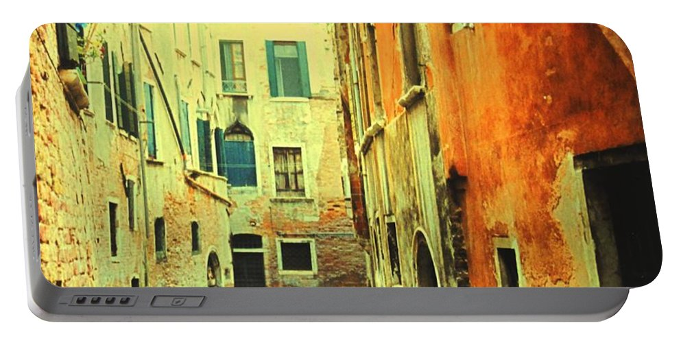 Venice Portable Battery Charger featuring the photograph Blue Boat In Venice by Ian MacDonald