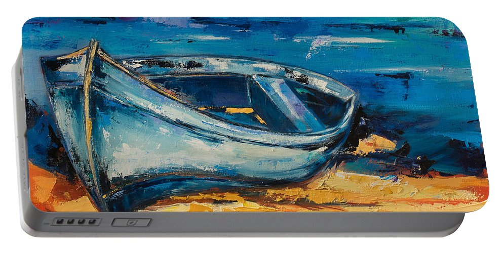 Boat Portable Battery Charger featuring the painting Blue Boat On The Mediterranean Beach by Elise Palmigiani
