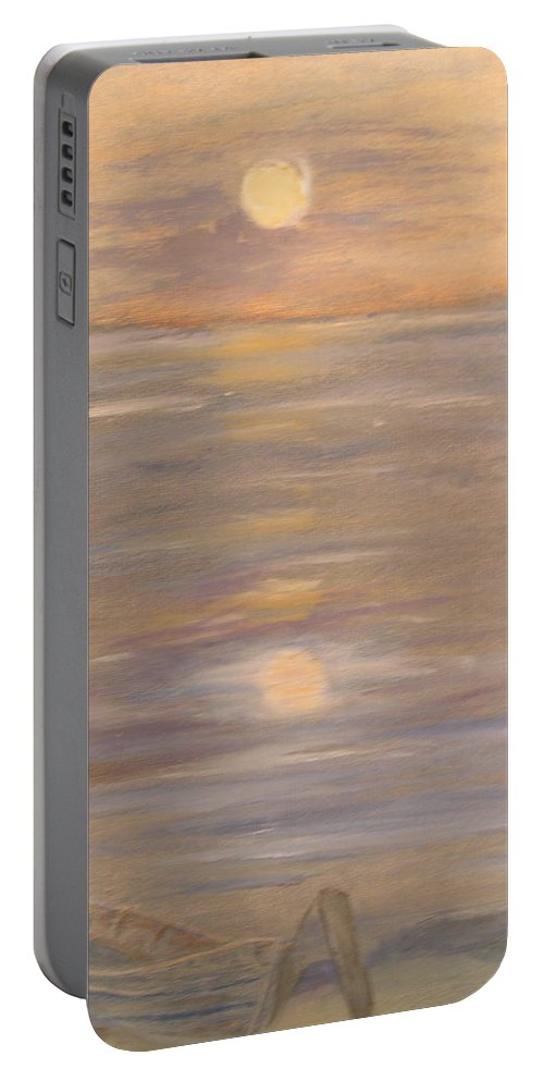 Boat Portable Battery Charger featuring the painting Blue Boat by Patricia Caldwell