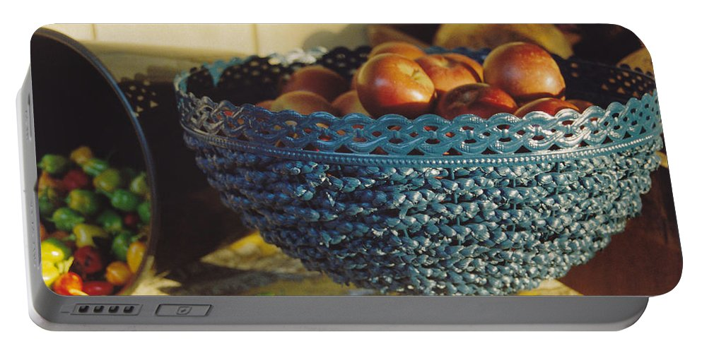 Still Life Portable Battery Charger featuring the photograph Blue Bowl by Jan Amiss Photography