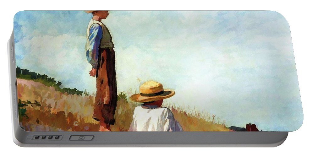 Landscape Portable Battery Charger featuring the painting Blue Boy by D Fessenden