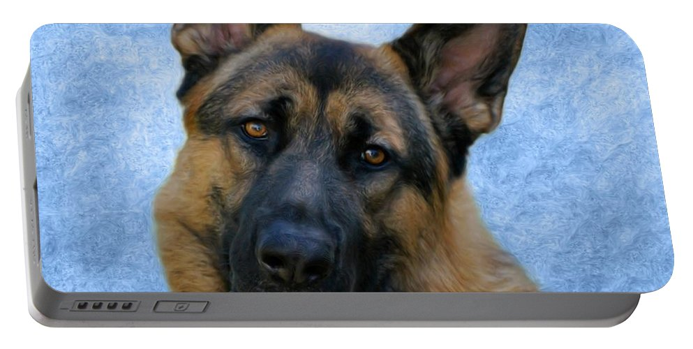 German Shepherd Dog Portable Battery Charger featuring the photograph Blue Boy by Sandy Keeton