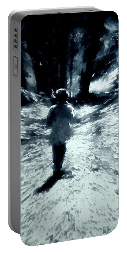 Blue Portable Battery Charger featuring the painting Blue Boy Walking Into The Future by RC DeWinter