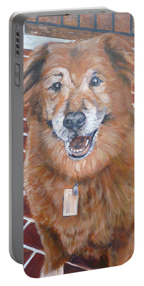 Chow Portable Battery Charger featuring the painting Blue by Bryan Bustard