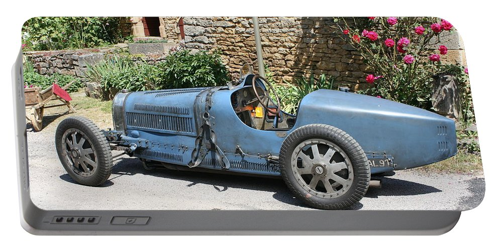 Oldtimer Portable Battery Charger featuring the photograph Blue Bugatti Oldtimer by Christiane Schulze Art And Photography