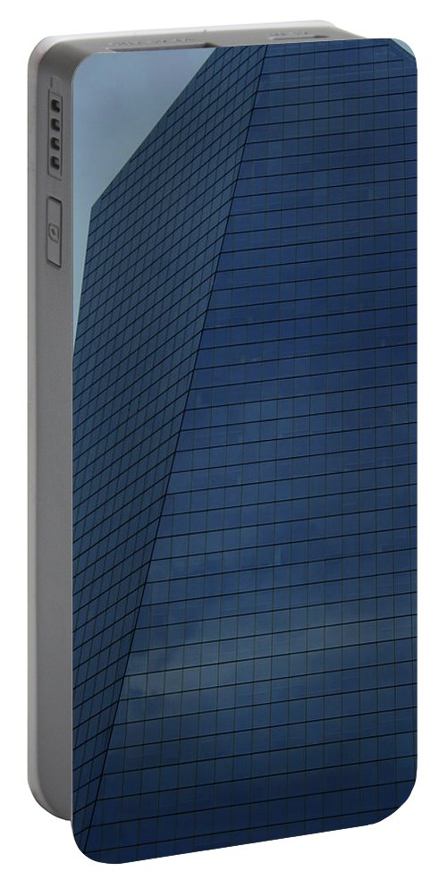 City Portable Battery Charger featuring the photograph Blue Building by Linda Sannuti
