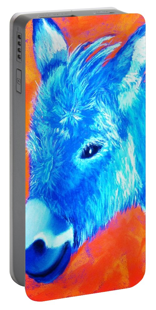 Burro Portable Battery Charger featuring the painting Blue Burrito by Melinda Etzold