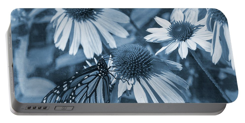 Butterfly Portable Battery Charger featuring the digital art Blue Butterfly by David Stasiak
