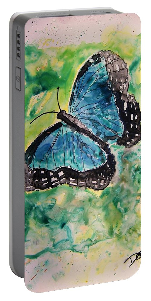 Wildlife Portable Battery Charger featuring the painting Blue Butterfly by Derek Mccrea