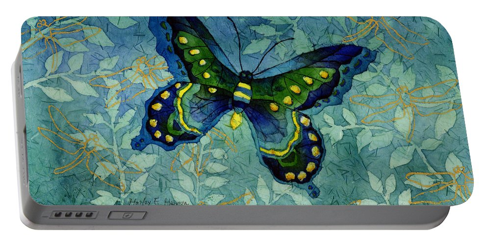 Butterfly Portable Battery Charger featuring the painting Blue Butterfly by Hailey E Herrera