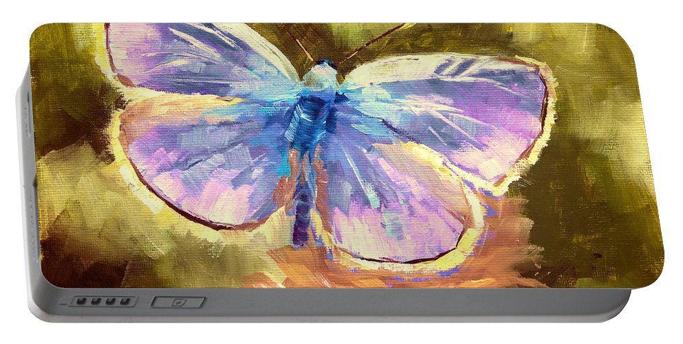 Blue Butterfly Portable Battery Charger featuring the painting Blue Butterfly by Melissa Herrin