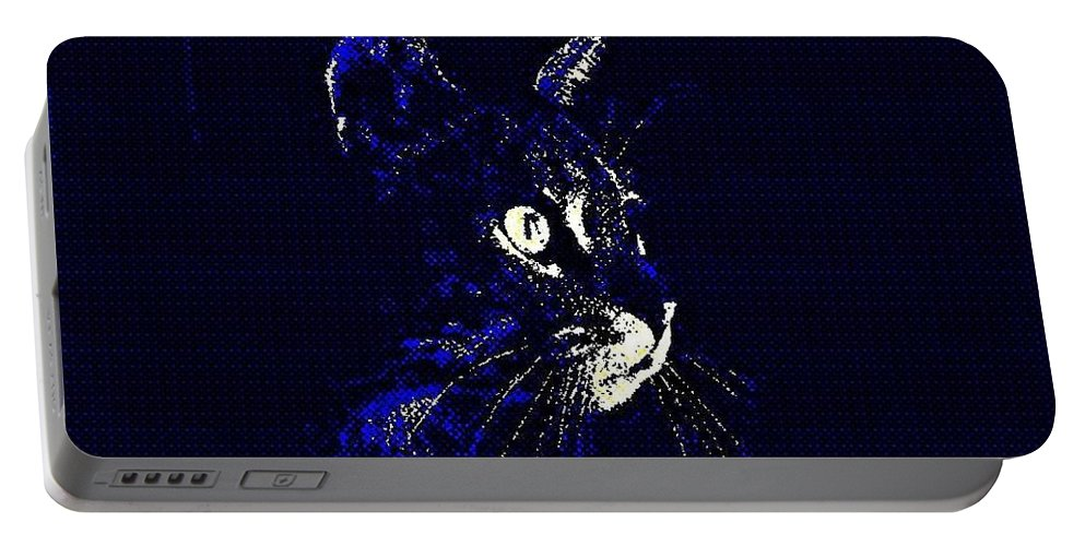 Cat Portable Battery Charger featuring the photograph Blue Cat by Melissa Nay