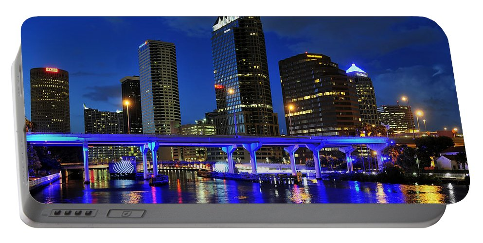 Tampa Bay Florida Portable Battery Charger featuring the photograph Blue City by David Lee Thompson